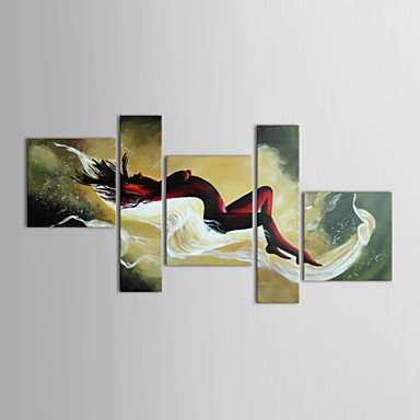 OFLADYH Oil Painting Figture Woman Nude Lying in Bed with Stretched Frame Set of 5 Hand-Painted Canvas