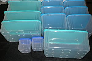 Tupperware 12 Pc Clear Mates Set, in Various Shades of Blue or Red Seals
