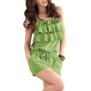 Allegra K Woman Square Neckline Ruffled Casual Jumpsuit Romper Green S