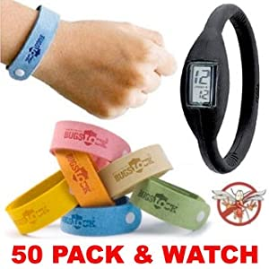 50 (FIFTY) PACK Mosquito Bracelets - PLUS FREE ION WATCH - Wholesale Lot of Bugs Mosquito repellent citronella wrist band bracelets. Repels mosquitoes quickly.