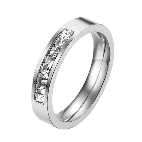 316l Stainless Steel Couple Lovers Rings Wedding Bands with Cubic Zirconial Stones Inlay Engagement/Valentine/Anniversary Gifts (Ladies' Size 8)