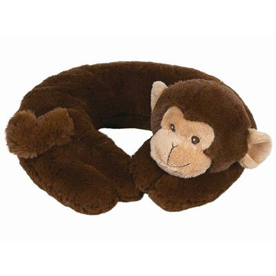 Bearington Baby Travel Pillow Head Positioner GIGGLES BROWN MONKEY soft gift - 1