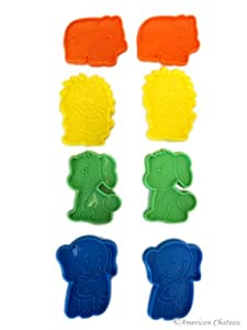 8 Pack Kids Playful Animal/Safari Shaped Plastic Cookie Cutters Shapes
