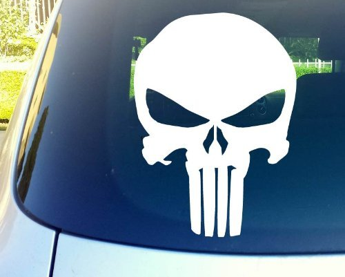 "Punisher Skull 11"" Die Cut Vinyl Car Decal Sticker for Car Window Automobile Window Car Bumper Truck Laptop Ipad Notebook Computer Tablet Decal Skat"
