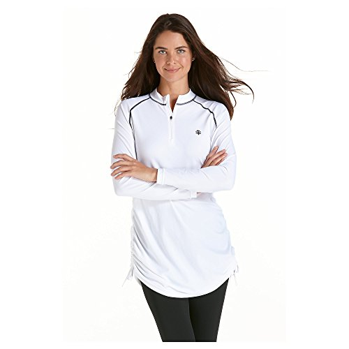 Coolibar UPF 50+ Women's Ruche Swim Shirt – Sun Protective (Small – White)