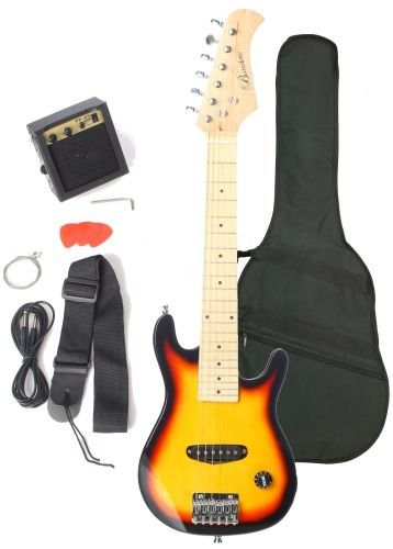 Barcelona Kid Series Electric Guitar with 5-Watt Amp, Gig Bag, Strap, Cable, Strings, Picks, and Wrench – Sunburst