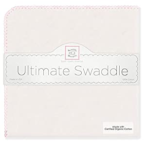 SwaddleDesigns Organic Ultimate Receiving Blanket, Natural with Color Trim, Pastel Pink