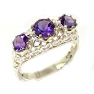 Quality Solid 9K White Gold Genuine Amethyst English Filigree Trilogy Ring – Finger Sizes 5 to 12…