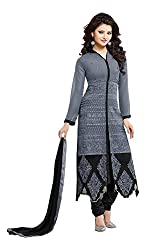 Look N Buy Women's Grey Georgette Un-Stitched dress material(O192_gray_free size)