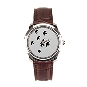 Besgirler Mens Watches Leather Strap Birds Leather Band Watch Doves