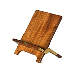 The Mobiport. Hand-Made, Foldable Portable SOLID Teak Wood Stand and Holder for Mobile Devices, iPads, Kindles and Smart Cell Phones. Genuine Suede Leather Tray Surface to Prevent Sliding and Scratches
