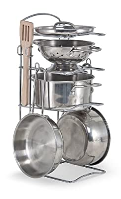 Melissa & Doug 8-Piece Stainless Steel Pots and Pans Set from Melissa & Doug