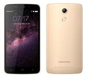 HOMTOM HT17 PRO - Android 6.0 4G Smartphone 2GB de RAM + 16 GB, 5.5 pulgadas de alta definición de 13 MP reconocimiento de huellas digitales de 64 bits de núcleo cuádruple espesor de 7,9 mm oro