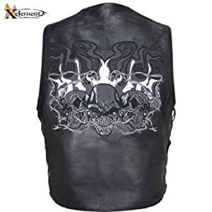 Xelement Mens Reflective Evil Triple Flaming Skulls Design Motorcycle Side Lace Leather Vestt Sz 2XL