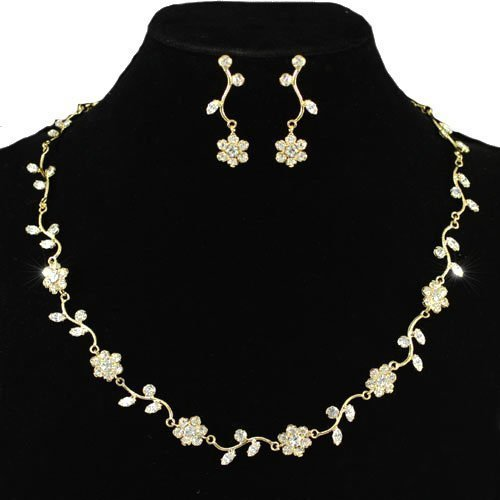 Gold Dainty Delicate Floral Crystal Earrings Necklace Set with PreciousBags Dust Bag