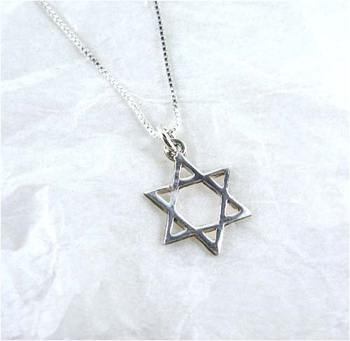 Dainty Sterling Silver Star Of David Charm Necklace, 16-Inch front-389130