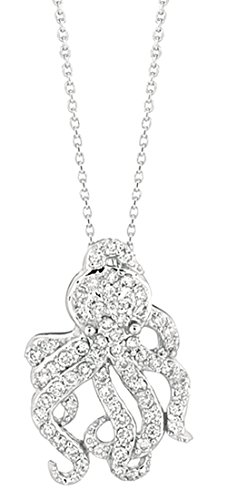 0.61 carat Round brilliant diamond octopus pendant necklace white gold 14K