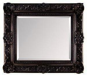 Large black ornate embossed shabby chic framed wall mirror for Large black framed mirror