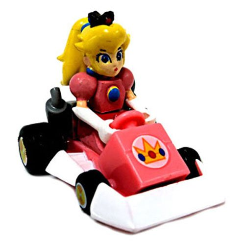 Mario Kart DS Gashapon 1.5 Inch Pull Back Racer Princess Peach Square Front Bumper - 1