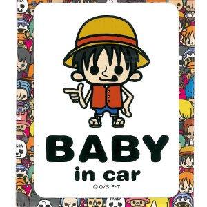 ワンピース(ONE PIECE) パンソンワークス BABY in car ステッカー ルフィ LCS-023