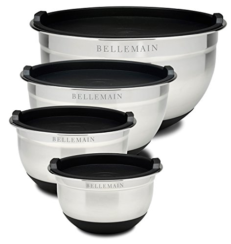 Top Rated Bellemain Stainless Steel Non-Slip Mixing Bowls with Lids, 4 Piece Set Includes 1 Qt., 1.5 Qt., 3 Qt. & 5 Qt.