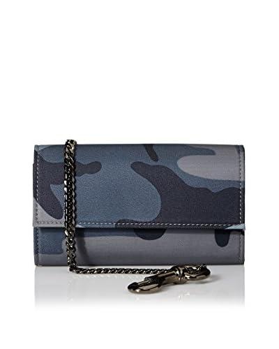 Valentino Men's Camo Print Nylon Flap Wallet, Navy