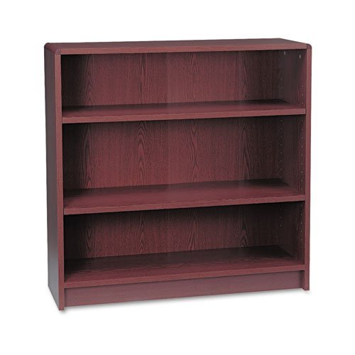 HON 1890 Series Bookcase, 3 Shelves, 36 W by 11-1/2 D by 36-1/8 H, Mahogany Basyx 3 Shelf Bookcase