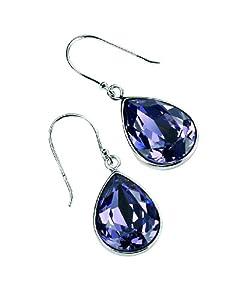 Elements Sterling Silver E3347M Ladies Teardrop Tanzanite Colour Crystal Drop Earrings