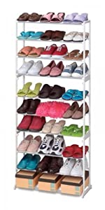 Click Here For satisfactory Size 30 Pair Stacking Metal & Plastic Shoe Rack (White) (56.5