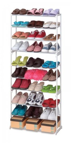 30 Pair Stacking Metal & Plastic Shoe Rack (White) (56.5
