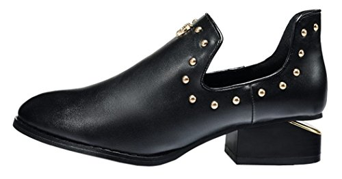 Index Low-Heels With Rivet Fashion Ladies Shoes (8 B(M) Us, Black)