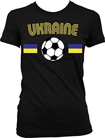 Ukraine Flags International Soccer Juniors T-shirt, Ukrainian National Pride Juniors Shirt , Small, Black