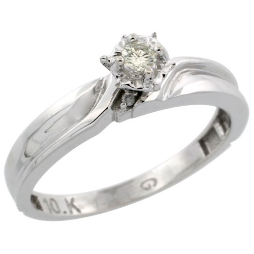 Sterling Silver Diamond Engagement Ring, 3.5