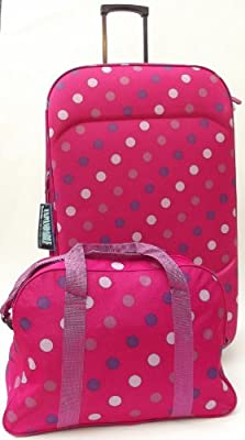 "Hot Pink Polka Dot Large 99 lts 30"" Travel Luggage suitcase On Wheels EXPANDING trolly Light Weight + Cabin approved shoulder bag! set"