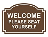 ComplianceSigns Engraved Acrylic Customer Policies Sign, 14 x 10 in. with English, Brown