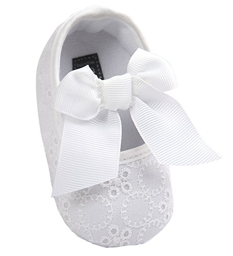 Santimon Baby Girl Shoes Soft Soled Bowknots Crib Walking Moccasins Prewalker Sneakers White 6-12 months/5 M US Toddler