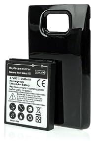 DONZO® Avanto POWER Akku für Samsung Galaxy S2 GT-I9100 mit 3500 mAh Li-Ion inkl. Akkufachdeckel - ersetzt (EB-F1A2G EB-K1A2EWEGSTD) - schwarz