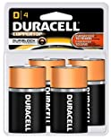 Duracell Coppertop Alkaline Batteries, D, 4 ct.