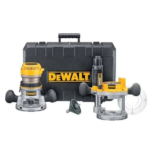 DEWALT DW618PK 12 AMP 2-1/4 HP Plunge- and Fixed-Base Variable-Speed Router Kit with 1/4-Inch and 1/2-Inch Collets