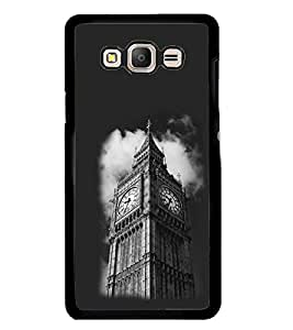Fuson Premium Clock Tower Metal Printed with Hard Plastic Back Case Cover for Samsung Galaxy On7