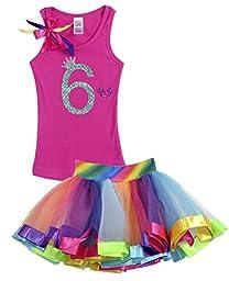 Bubblegum Divas Big Girls\' 6th Birthday Rainbow Tutu Outfit 6