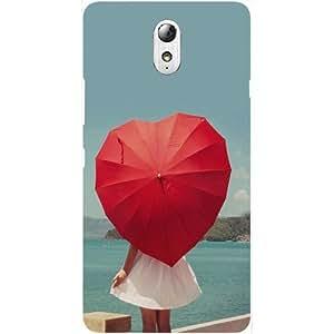 Casotec Heart Umbrella Design Hard Back Case Cover for Lenovo Vibe P1M