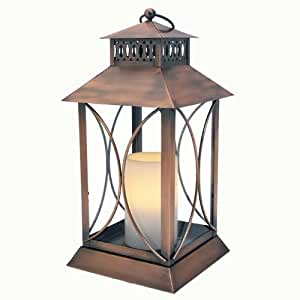 Flipo Pacific Accents Neuporte Indoor/Outdoor Lantern with Flameless Resin Candle, Oil Rubbed Bronze Finish