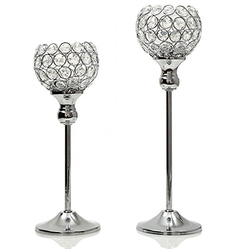 VINCIGANT Sparklers Wedding Table Centerpieces Candelabra,Decorative Floor Vases Crystal Candle Holders for Dining Room Decoration,Set of 2