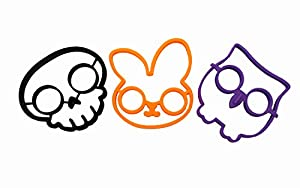 Zicome Set of 3 Nonstick Silicone Egg Ring Mold, Purple Owl Shaped Egg Ring, Black Skull Shaped Egg Ring and Orange Rabbit Shaped Egg Ring