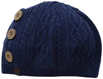 True Religion Women's Slouchy Hat with Buttons, Navy, One Size