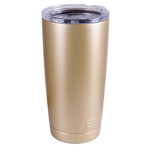 Yeti Rambler 20 Oz Tumbler, Stainless Steel, with Lid, Custom Colors (20 Oz + Handle, Gold Dust)