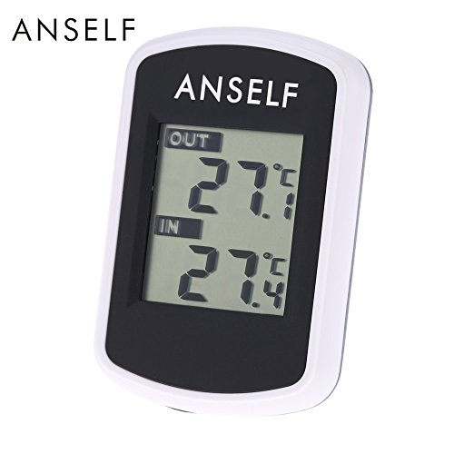 Anself LCD Thermomètre Digital sans Fil Intérieur et Extérieur