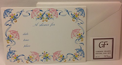 Elegant English Shower Invitations Umbrella Decor - Single Panel Cardstock - 10 Cards to Personalize 10 White Envelopes - 1