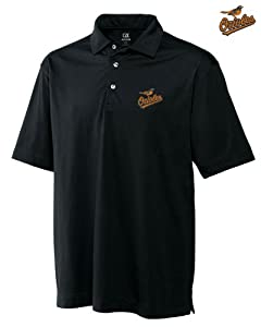 Baltimore Orioles Mens DryTec Medina Tonal Stripe Polo Shirt Black by Cutter & Buck
